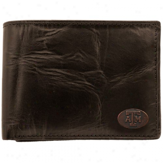 Fossil Texas A&m Aggies Brown Leathet Traveler Bifpld Wallet