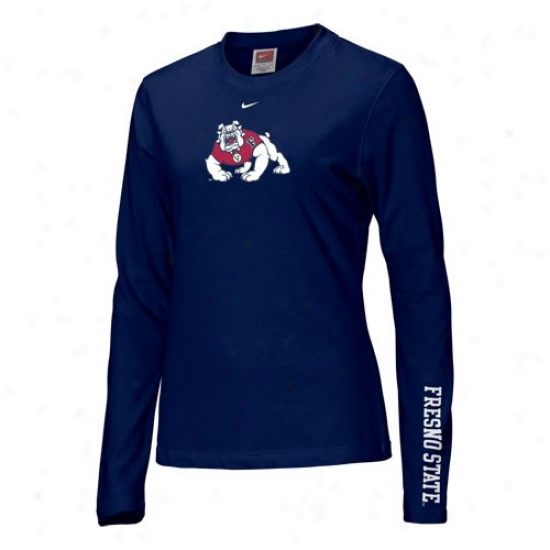 Fresno State Bulldogs T-shirt : Nike Fresno State Bulldogs  Navy Blue Ladies Classic Logo Long Sleeve T-shirt