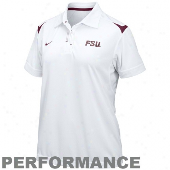 Fsu Seminoles Clothes: Nike Fsu Seminoles (fsu) Ladies White Silent Count Dri-fit Performance Polo