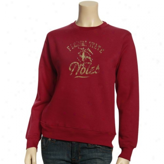 Fsu Sweatshirt : Fsu (fsu) Ladies Garnet Burner Script Crew Sweatshirt