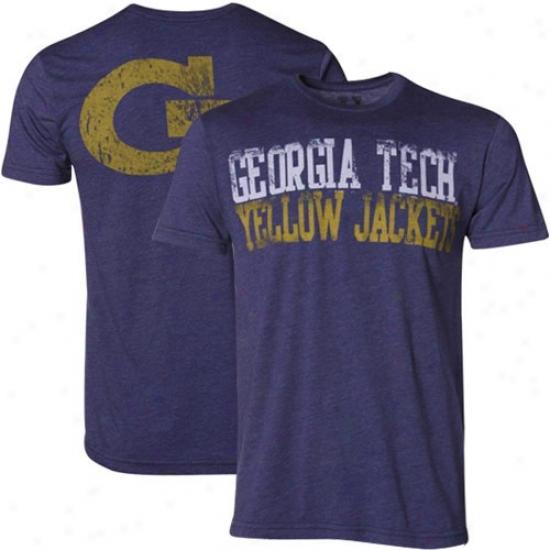 Ga Tech Tee : My U Georgia Tech Yellow Jackets Heath Slate Blue Literality Tee