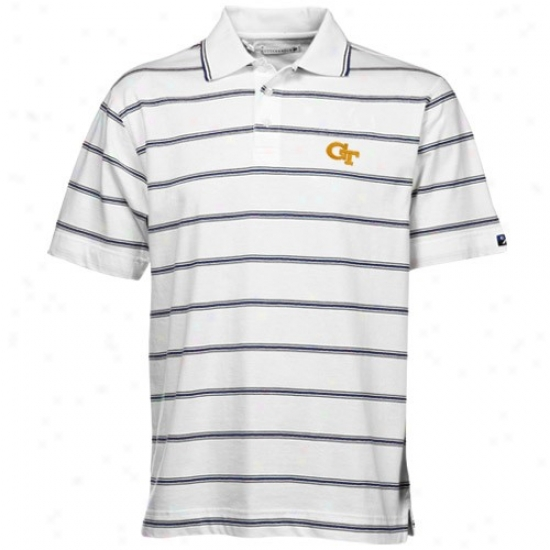Ga Tech Yellow Jacket Clothing: Cutter & Buck Georgia Tech Yellow Jackets Happy Griffin Bay Striped Polo