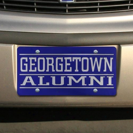 Georgetown Hoyas Royal Blue Mirrored Alumni License Plate