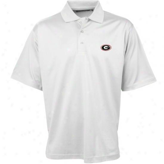 Georgia Bulldog Golf Shirts : Coloony Sportswear Georgia Bulldog White Double Mercerized Golf Shirts