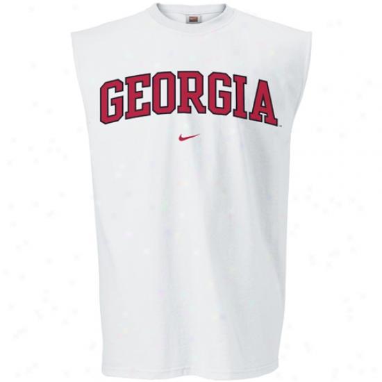 Georgia Bulldog Tshirt : Nike Georgia Bulldog White College Classic Sleeveless Tshirt