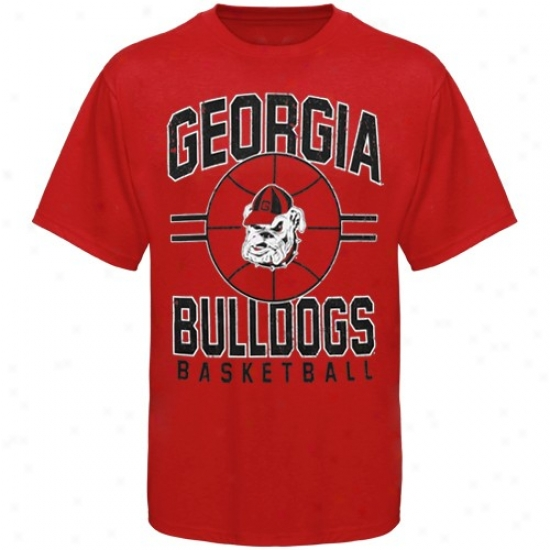 Georgia Bulldog Tshirts : Georgia Bulldog Red Bi gTime B-ball Tshirts