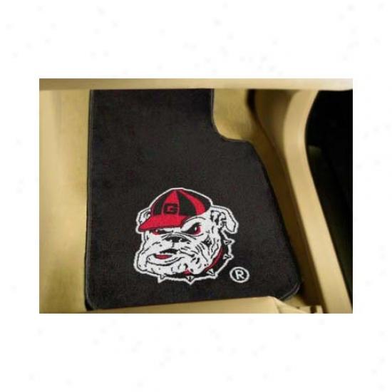 Georgia Bulldogs 2 Piece Bulldog Logo Black Car Ma tSet