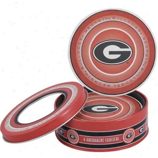 Georgia Bulldogs 4-pack Coasters W/ Tin
