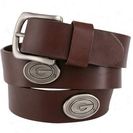 Georgia Bulldogs Brown Leather Concho Belt
