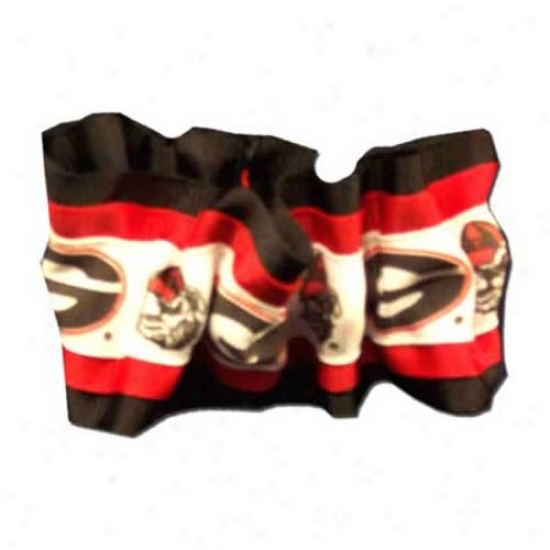 """georgia Bulldogs  Hair Scrunchie W/black """"g"""" & Bulldog Head"""
