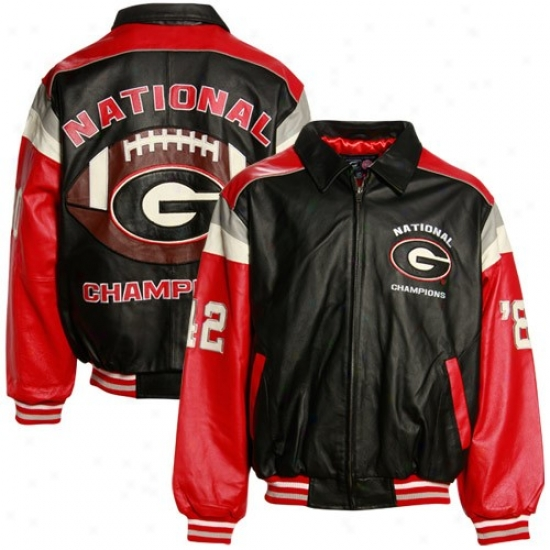 Georgia Bulldogs Jacket : Georgia Bullogs Black 2-time National Champions Commemoratove Leather Jerkin