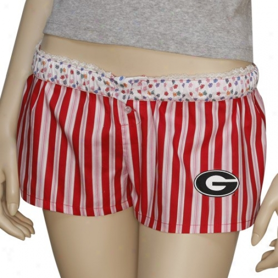 Geoegia Bulldogs Ladies Red Marquis Stripes Fold-over Boxer Shorts