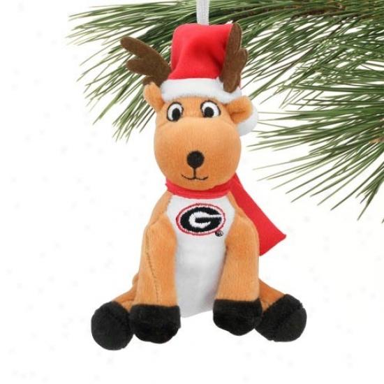 Georgia Bulldogs Plush Reindeer Ornament