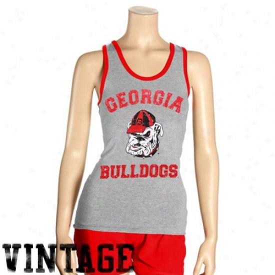 Georgia Bulldogs Tshirt : Georgia Bulldogs Ladies Ash Singlette Tank Top