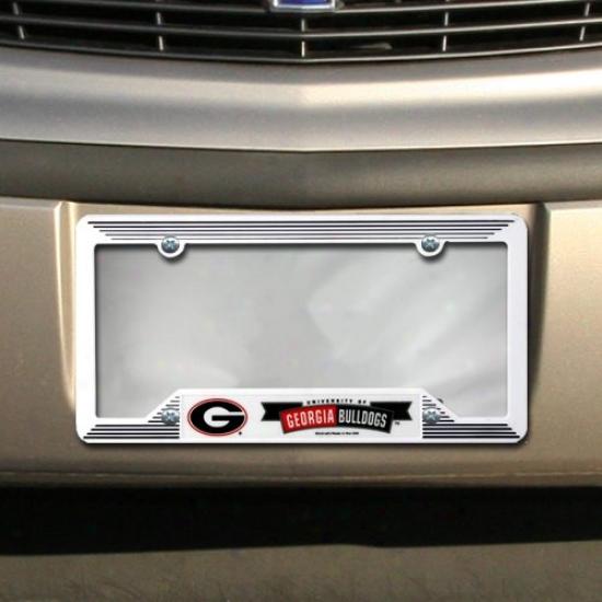 Georgia Bulldogs White Plastic License Plate Frame