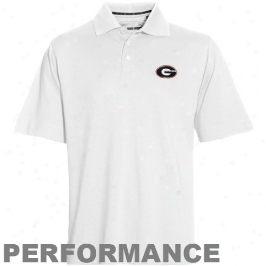 Georgia Golf Shirts : Cutter & Buck Georgia White Drytec Championshil Performance Golf Shirts