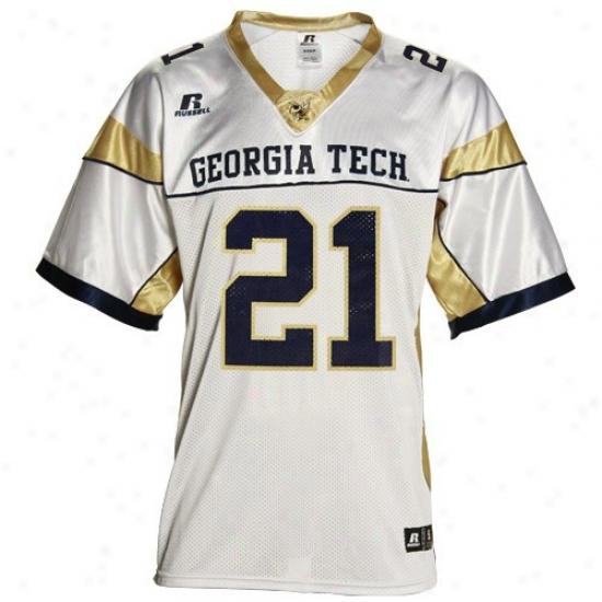 Georgia T3ch Jerseys : Russell Georgia Tech Yellow Jacketq #21 Whit eReplica Football Jerseys