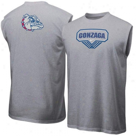 Gonzaga Bulldogs T-shirt : Nike Gonzaga Bulldogs Ash Basketball Sleeveless T-shirt