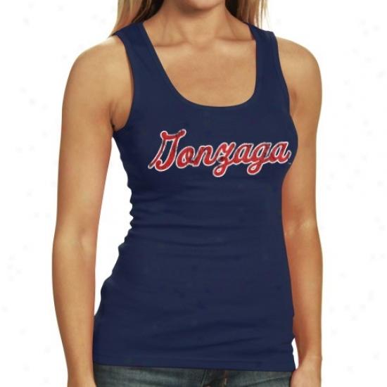 Gonzaga Bulldogs Tee : Gonzaga Bulldogs Ladies Ships Blue Script Vintage Tank Top