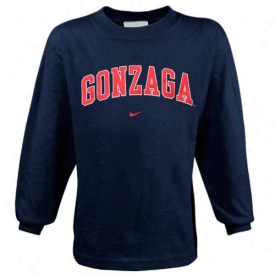 Gonzaga Bulleogs Tees : Nike Gonzaga Bulldogs Navy Blue Preschool College Classic Long Sleeve Tees