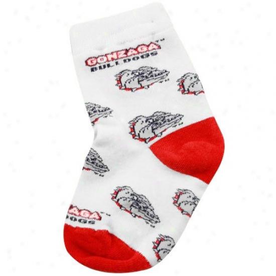 Gonzaga Bulldogs White Infant All Over Team Logo Bootie Socks