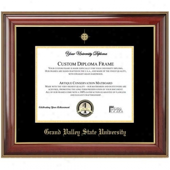 Grand Valley State Lakers Classic Mahogany Gold Trim Embossed Seal Diploma Frame