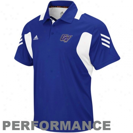 Grand Valley State Lakers Cloghing: Adidas Grand Valley State Lakers Royal Blue 2010 Scorch Coaches Performance Polo