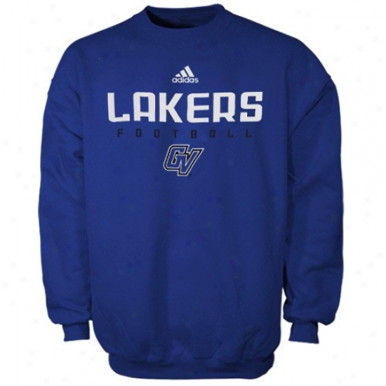 Grand Valley State Lakers Hoodys : Adidas Grand Valley State Lakers Royal Blue Sideline Crew Hoodys