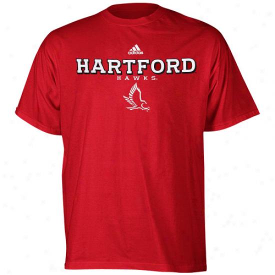 Hartford Hawks Tee : Adidas Hartford Hawks Scarlet True Basic Tee