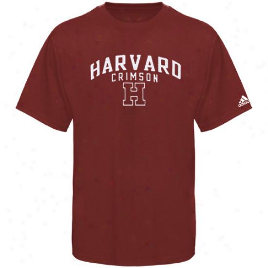 Harvard Crimson Attire: Adidas Harvard Crimson Crimson Arch & Logo Pifment Dyed T-shirt