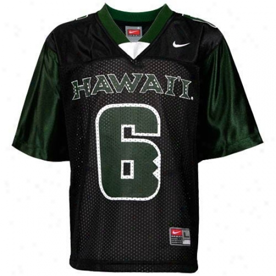 Hawaii Warriors Jersey : Nike Hawaii Warriors #6 Youth Black Replica Football Jersey