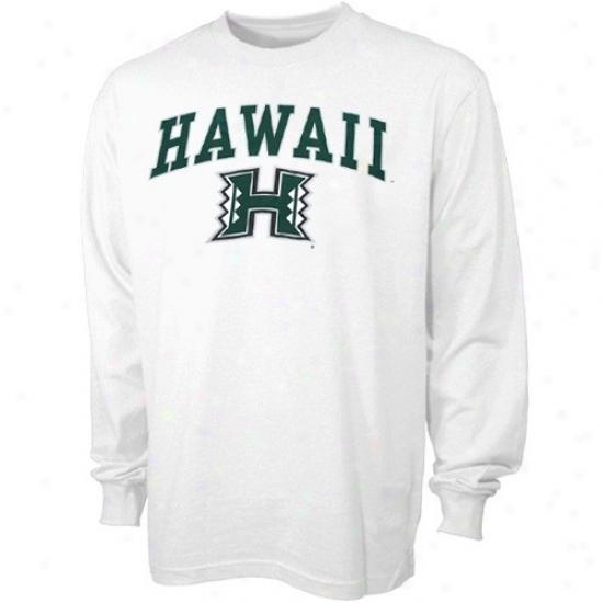 Hawaii Warriors Tee : Hawaii Warriors Youth White Bare Essentials Long Sleeve Tee