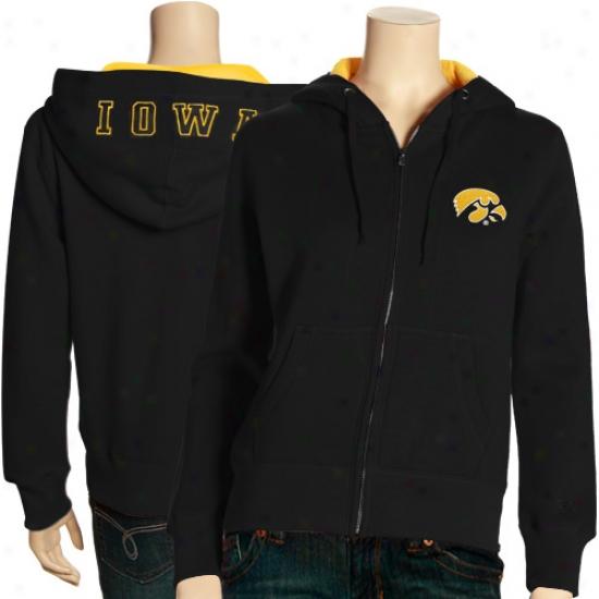 Hawkeyes Sweat Shirt : Hawkeyes Ladiez Black Academy Full Zip Sweat Shirt
