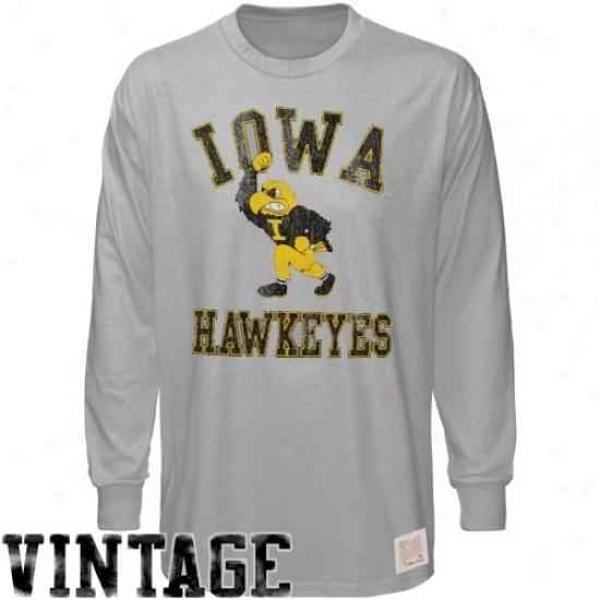 Hawkeyes Tshirt : Original Retro Brand Hawkeyes Ash Vintage Throwback Long Sleeve Premium Tshirt