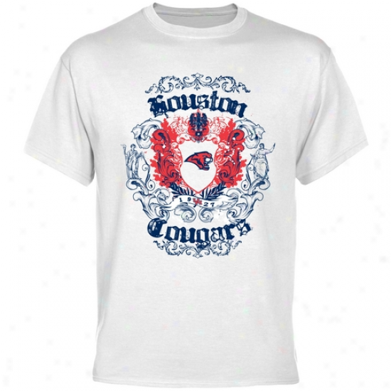 Houston Cougars T Shirt : Houston Cougars White Granf Crest T Shi5t