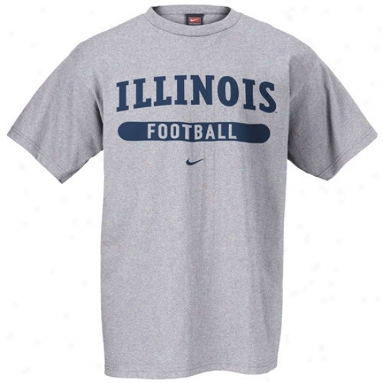 Illinois Fighting Illini Attire: Nike Illinoia Fighting Illini Ash Football T-shirt