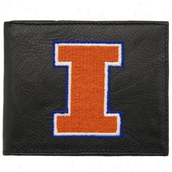 Illinois Fighting Illini Black Embroidered Biilfold Wallet
