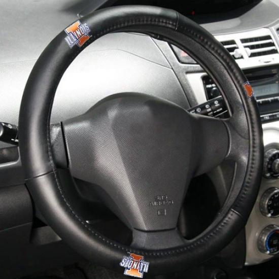Illinois Fighting Illini Black Leather Steering Wheel Cover