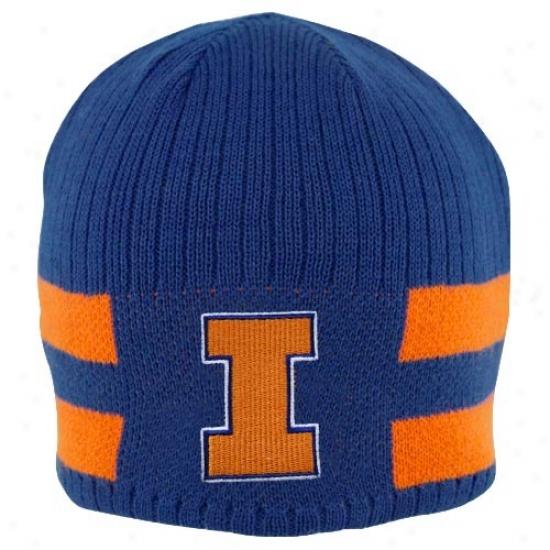 Illinois Fighting Illini Caps : Nike Illinois Fighting Illini Young men Navy Blue-orange Reversible Knit Beanie