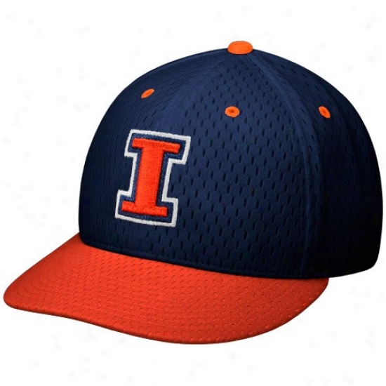 Illinois Fighting Illini Hats : Nike Illinois Fighting Illini Navy Blue-orange On Field Mesh Fitted Hats