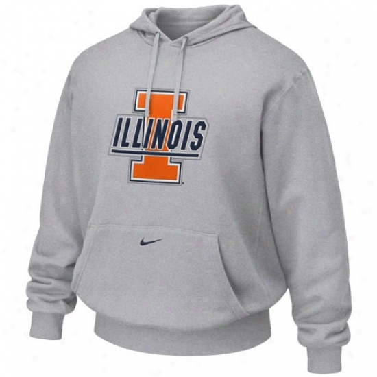 Illinois Fighting Illini Hoodys : Nike Illinois Fighting Illinu Ash Tackle Twill Logo Hoodys