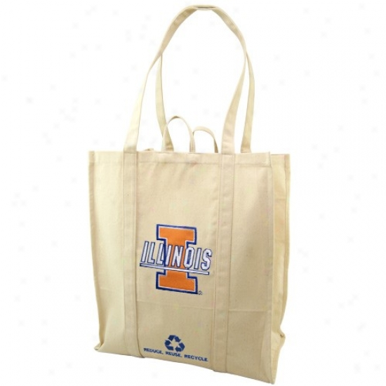 Illinois Fighting Illini Natural Resuable Organic Tote Bag