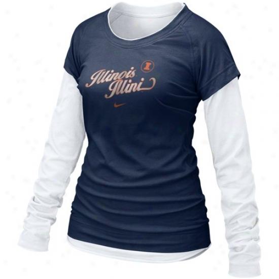 Illinois Fighting Illini Shirts : Nike Illinois Fighting Illini Ladies Royal Blue 2010 Cross Campus Double Stratum Long Sleeve Shirts