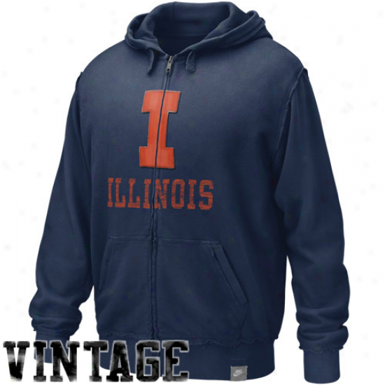 Illinois Fighting Illini Sweatshirts : Nike Illinois Fighting Illini Navy Blue Vault AccreditedA pplique Full Zip Sweatshirts
