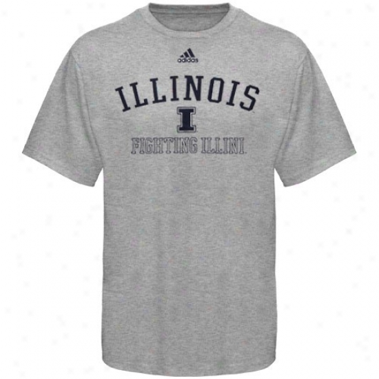 Illinois Fighting Illini T-shirt : Adidas Illinois Fighting Illini Ash Practice T-shirt