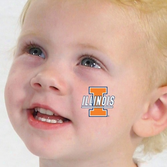 Illinois Fighting Illini Waterless Tdmporary Tattoos