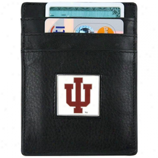 Indiana Hoosiers Dark Leather Money Clip And Business Card Holder