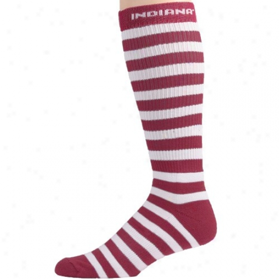 Indiana Hoosiers Crimson-white Striped Tall Socks