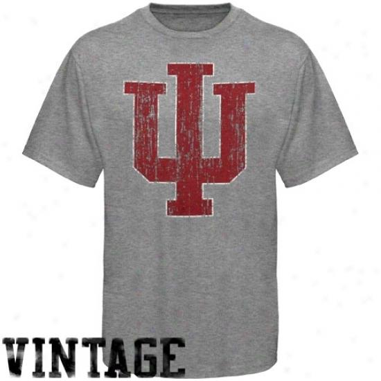 Indiana Hoosiers Shirts : Indiana Hoosiers Ash Distressed Big Logo Vintage Shirts