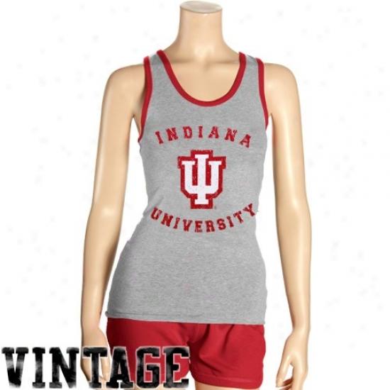 Indiana Hoosiers Shorts : Indiana Hoosiers Ladies Ash Singlette Tank Top